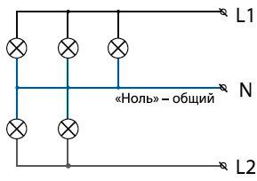 Схема параллельного соединения цепи на примере светильника с 5 лампами.